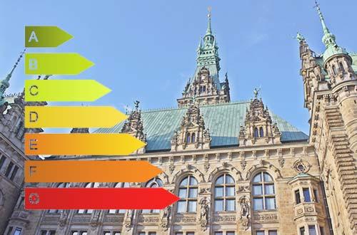 Kommunales Nichtwohngebäude vor blauem Himmel mit Energieeffizienz-Streifen