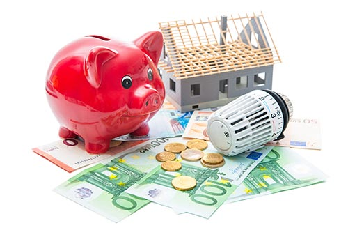 Sparschwein, Münzgeld, Scheine, Heizung und ein Haus